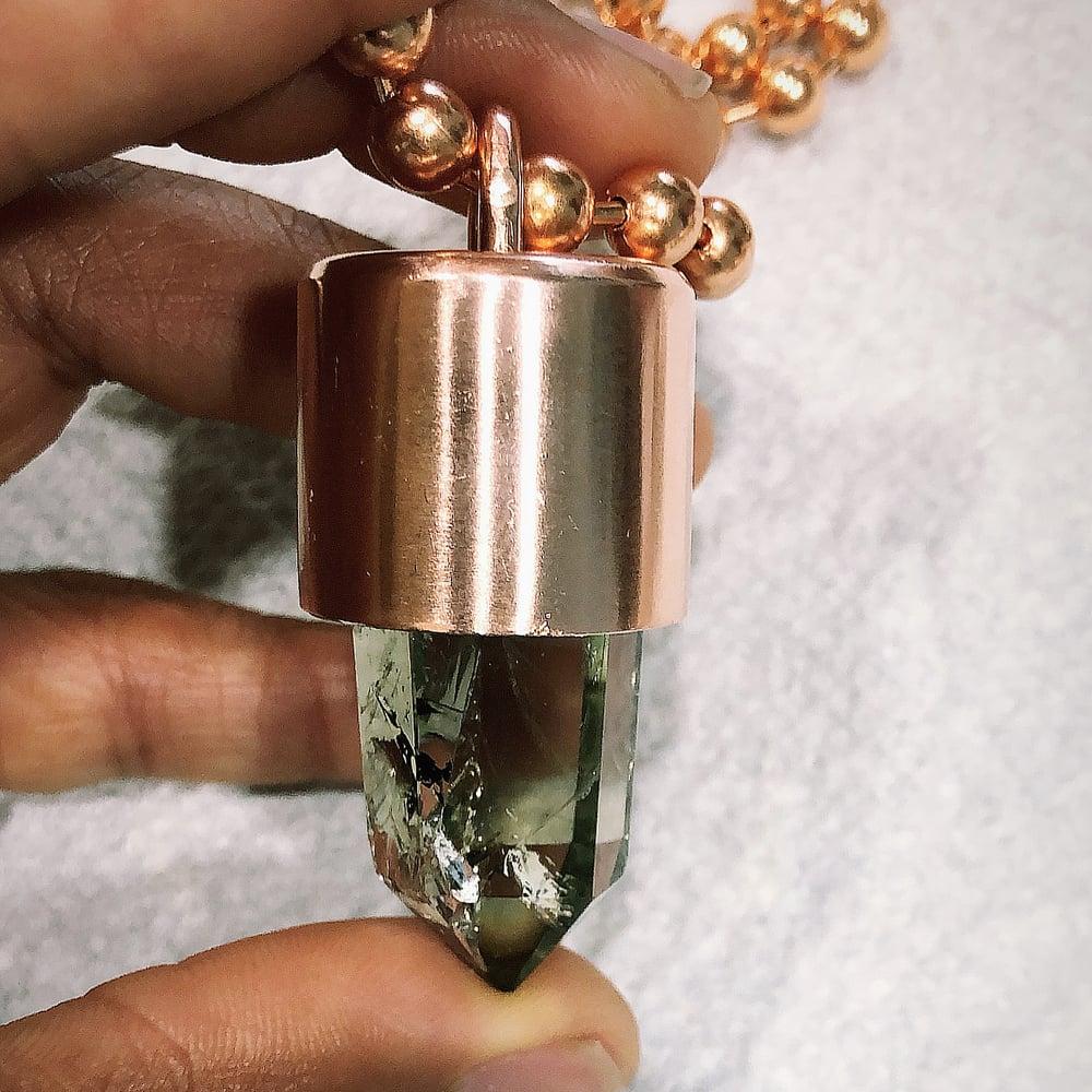 Image of Green Quartz Crystal Key Necklace