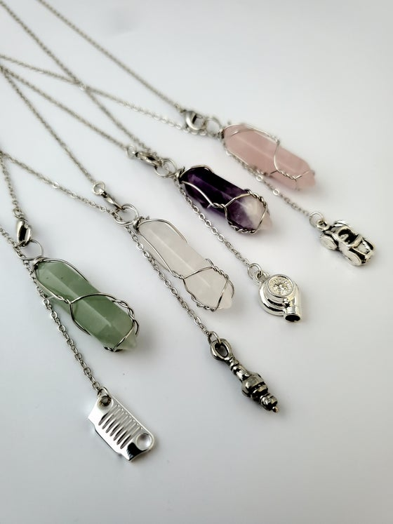 Image of Crystals and Car Parts Necklace