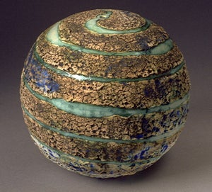 Image of Wheel-Thrown Stoneware Textured Sphere/Planet