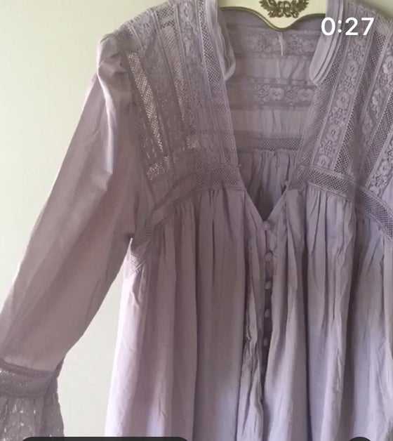 Image of Free People rare violet peasant top with covered buttons
