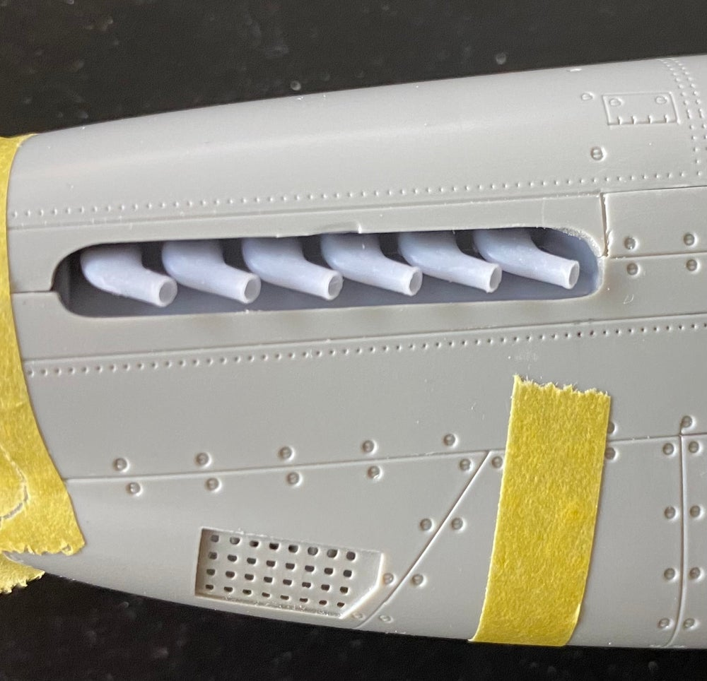 Image of P-51 B Mustang exhausts for the Trumpter kits