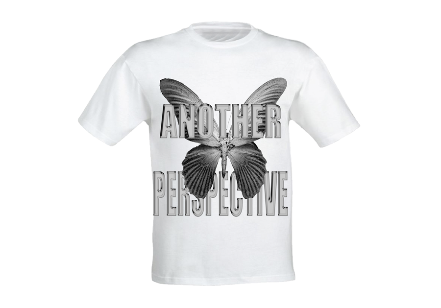 Image of Grey Chrome Butterfly T-Shirt