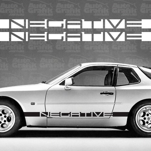 Image of NEGATIVE 944 TYPE SIDE SCRIPT DECAL SET - YOUR CUSTOM TEXT