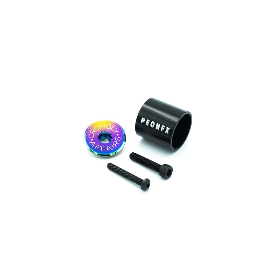 Image of TOP-A Oil Slick stem top cap and Aluminium light mount comb