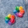 Mini Marbled Rainbow Hoop of Fluffs Earrings