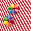 Mini Split Rainbow Hoop of Fluffs Earrings