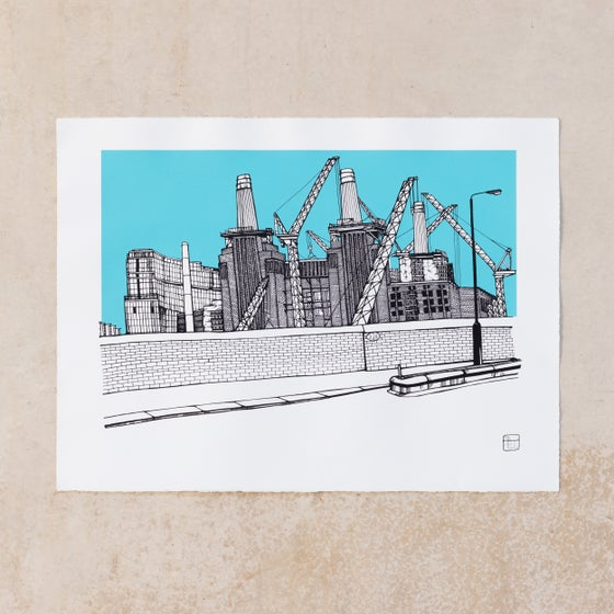 Image of Battersea Power Station. Blue