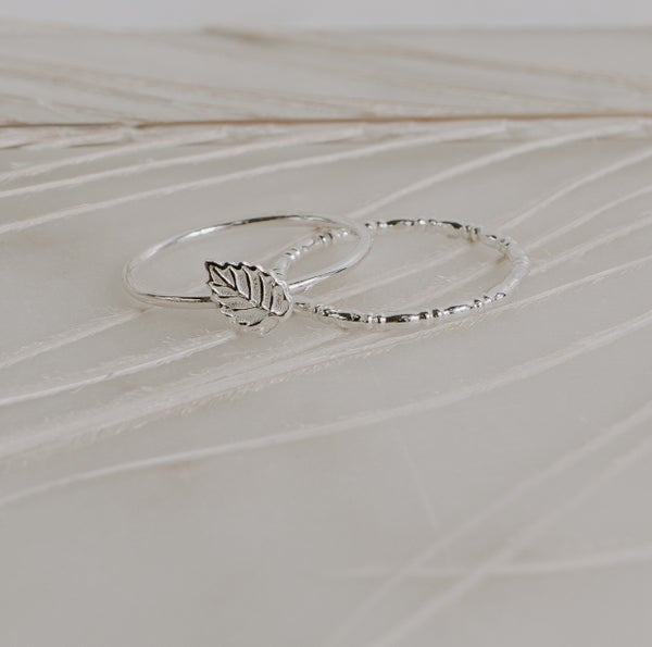 Image of Leaf & Rondell Stacking Rings