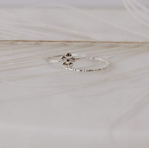 Image of Flower & Rondell Stacking Rings