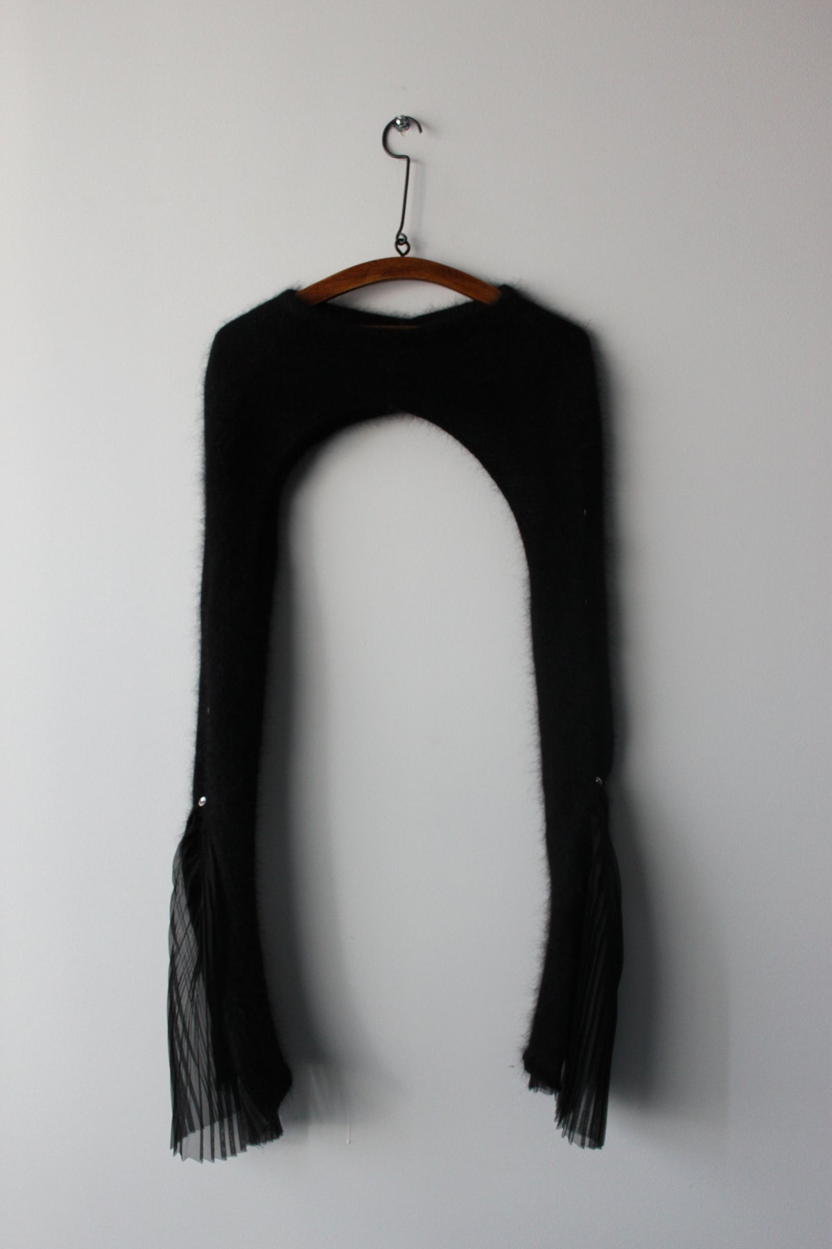 Black hand knit French Angora sleeve with pleated cuff