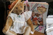 """Image of Steiff Replica Pansy from the book """"Pansy Goes To Paris"""" with Her Book"""