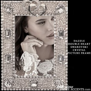 Image of Swarovski Crystal Dazzle Double Heart Picture Frame
