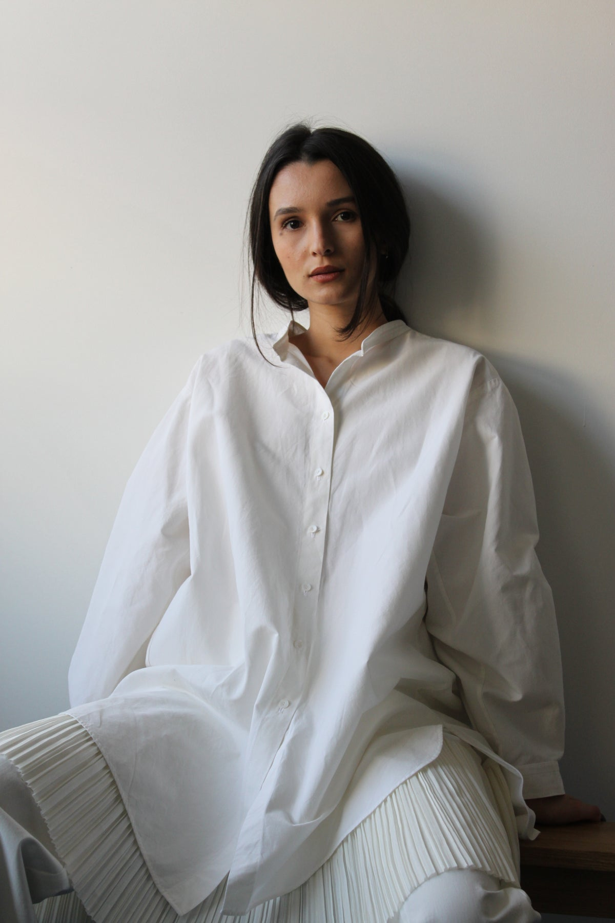 Two-in-one linen cotton oversize shirt dress