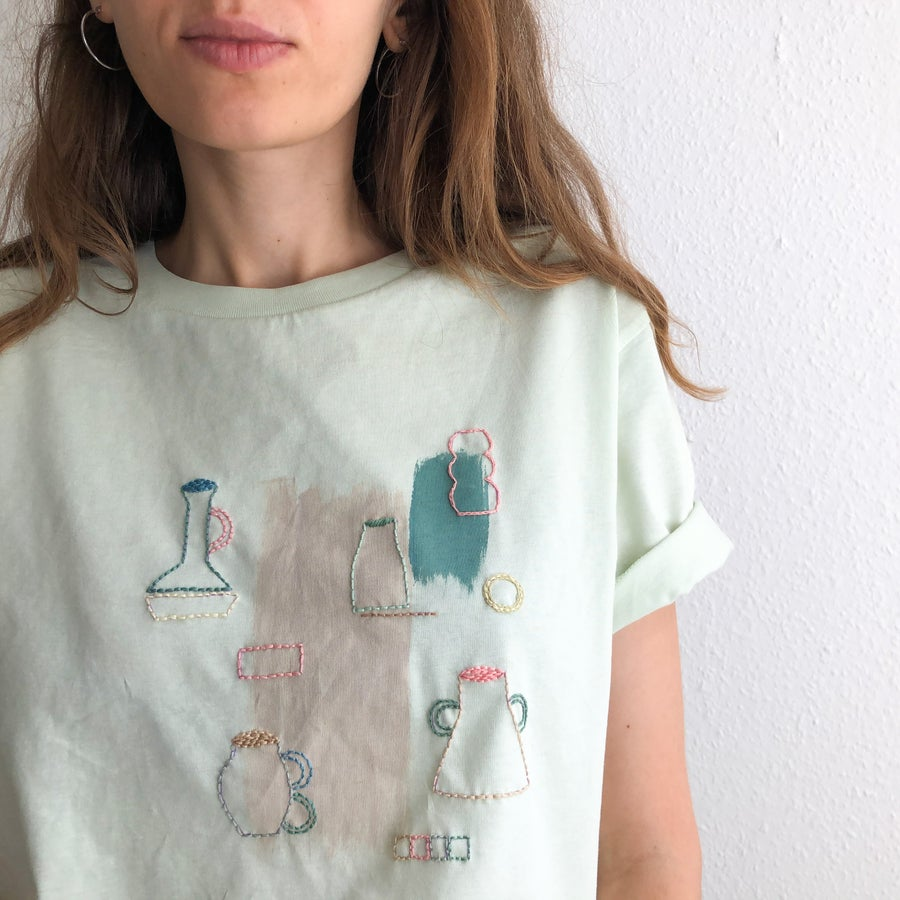 Image of Vases exploration - intuitive hand embroidery and painting on organic cotton tshirt, one of a kind