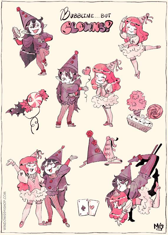 Image of Bubbline but... CLOWNS sticker sheet!