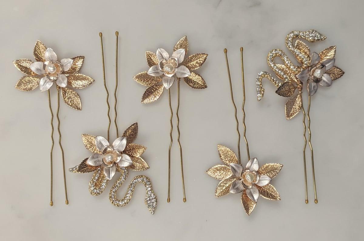 Lotus Serpent hair pins