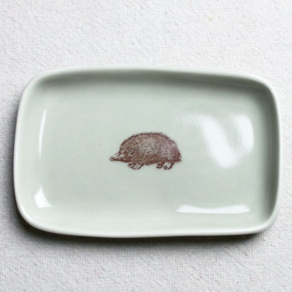 Image of small rectangular tray with hedgehog, sage
