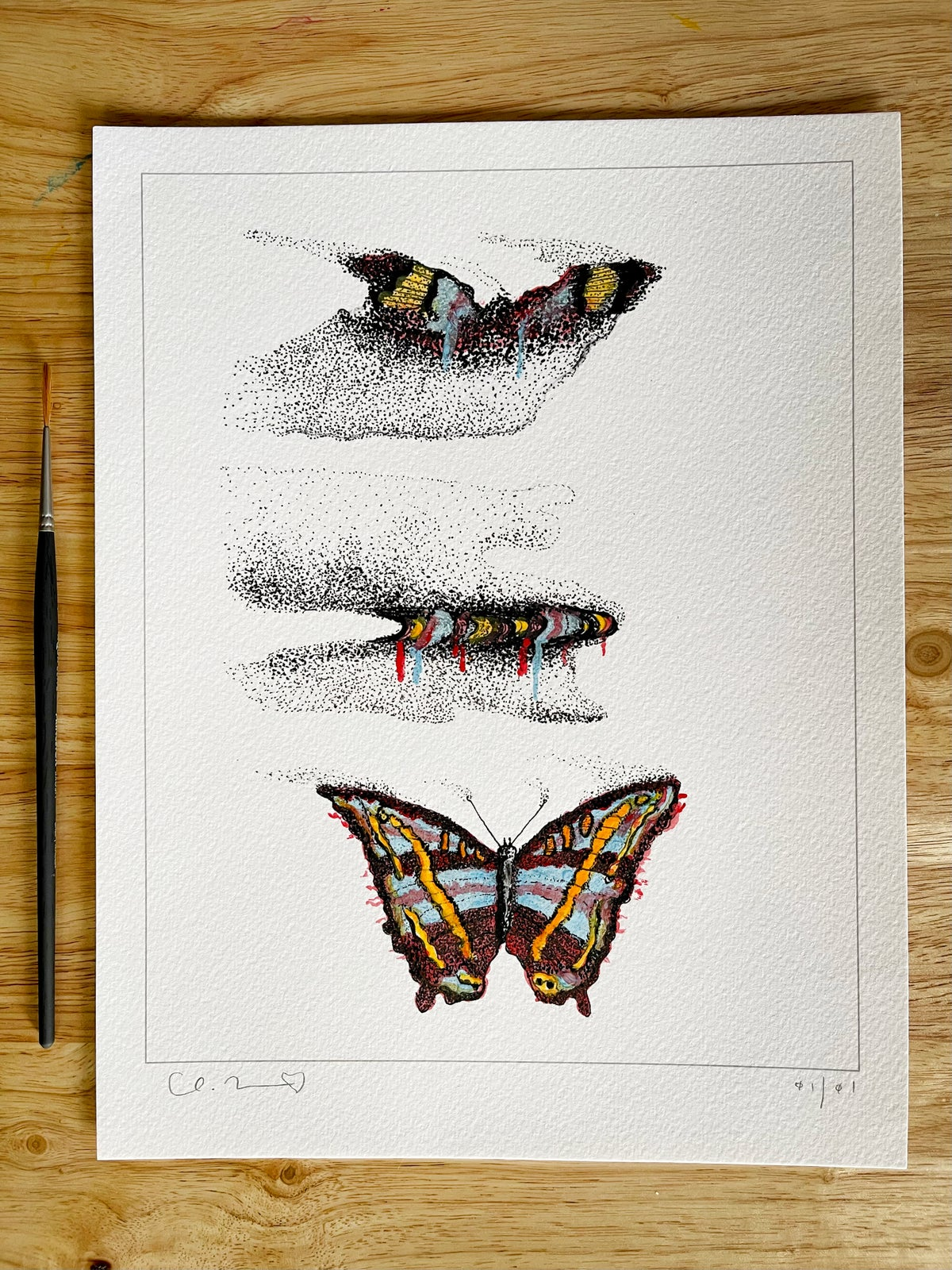 Image of 'Metamorphosis' + Hand Painted Watercolor & Ink Accents