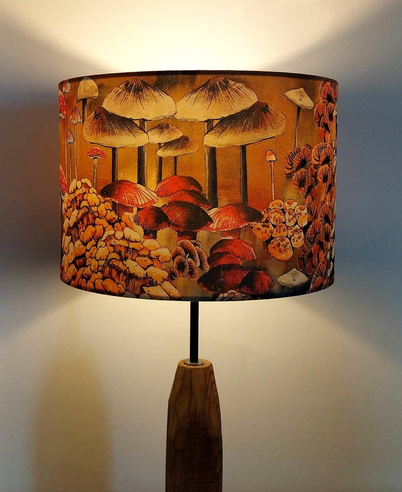Image of Mushrooms Drum Lampshade by Lily Greenwood (30cm Diameter)