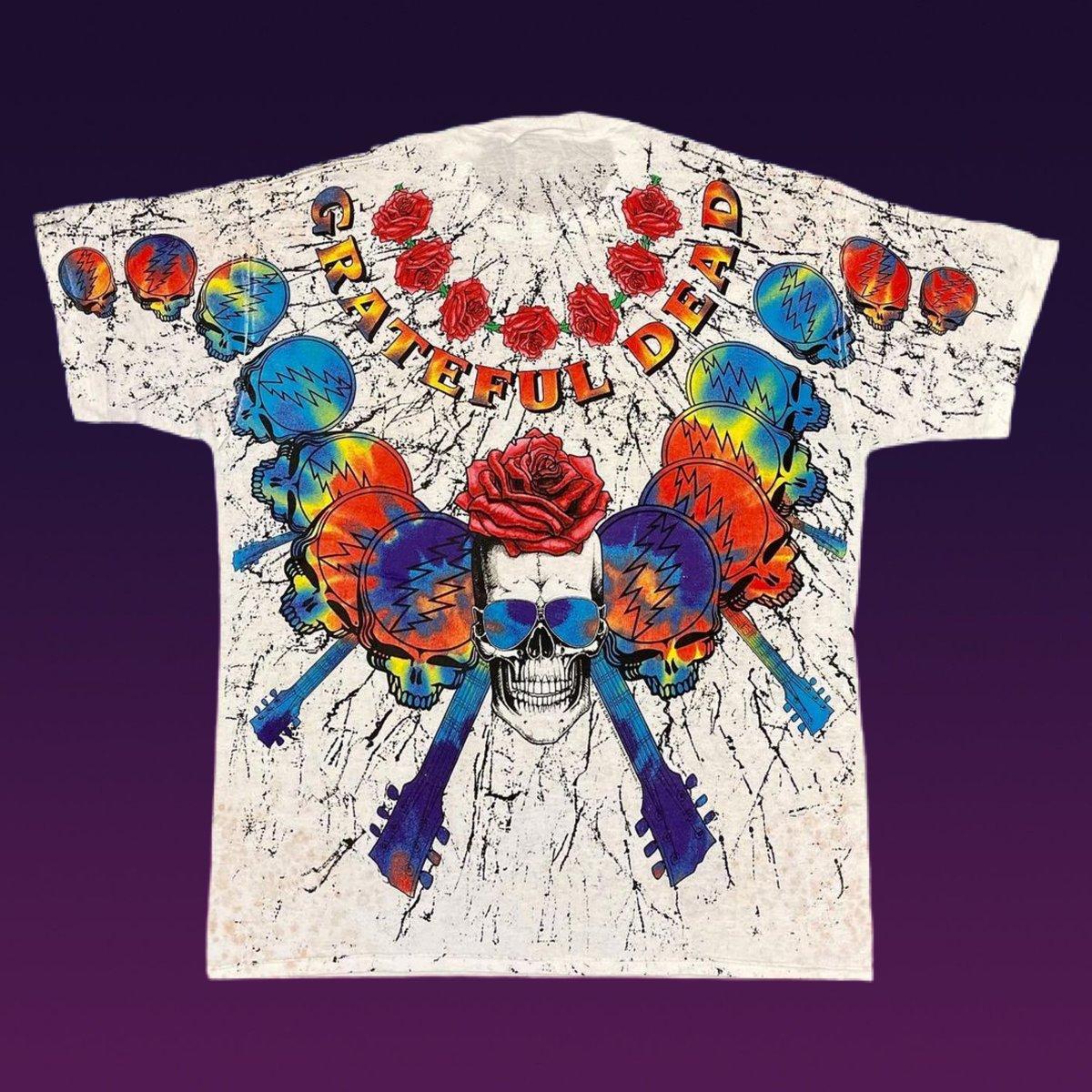 Original RARE Vintage Grateful Dead 1992 Roses & Guitar All Over Tee! X-Large