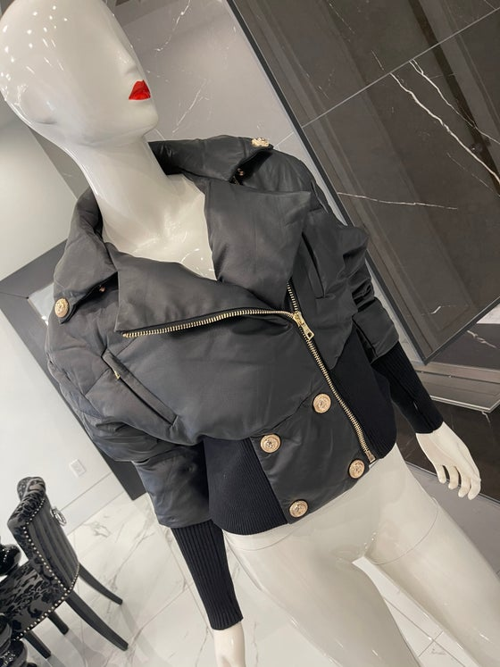 Image of Cropped Leather Bomber