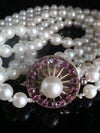 """VINTAGE ANTIQUE LONG 14CT NATURAL RUBY 6MM CULTURED PEARL TRIPLE NECKLACE 14"""""""
