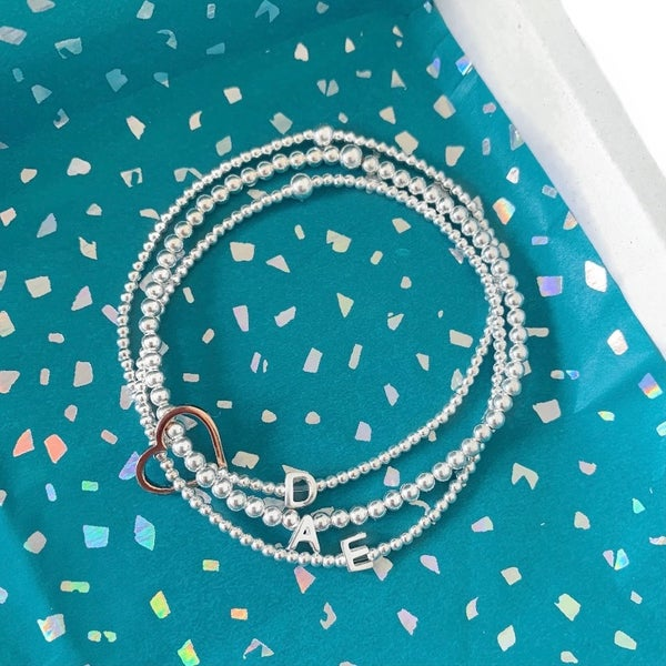 Image of Sterling Silver Triple Initial Connector Bracelets