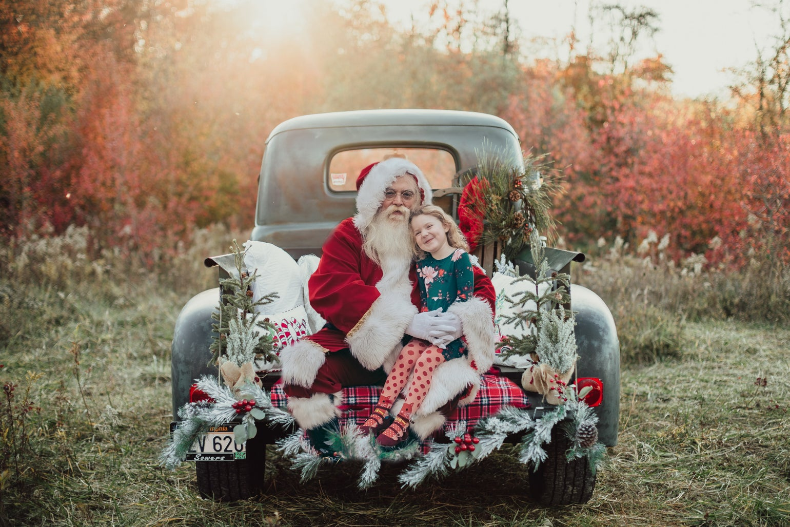 Image of Santa on the Green Antique Truck!