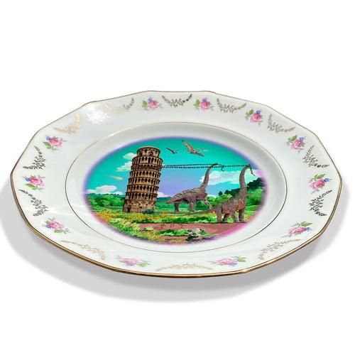 Image of Ricordi di Pisa Cyan - Pisa Tower- Vintage Porcelain Plate - #0732