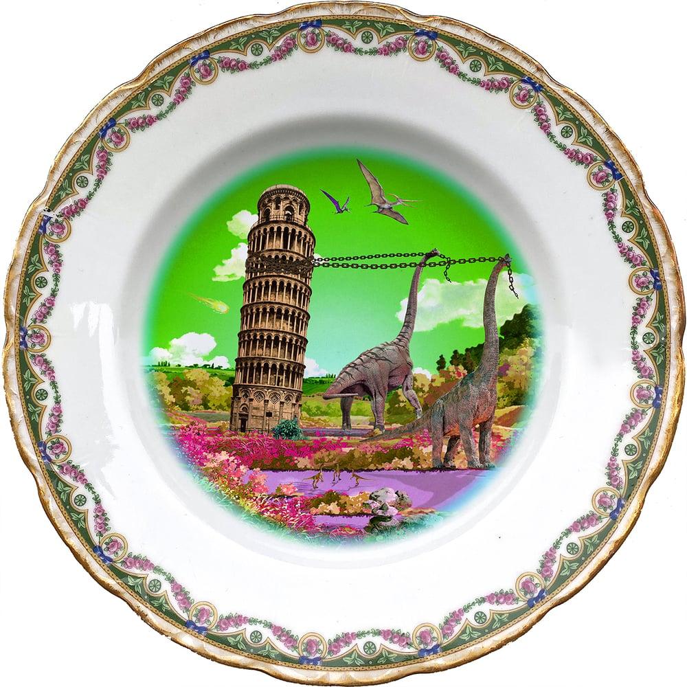 Image of Ricordi di Pisa Green - Pisa Tower - Vintage Porcelain Plate - More than 120 Years Antique - #0709