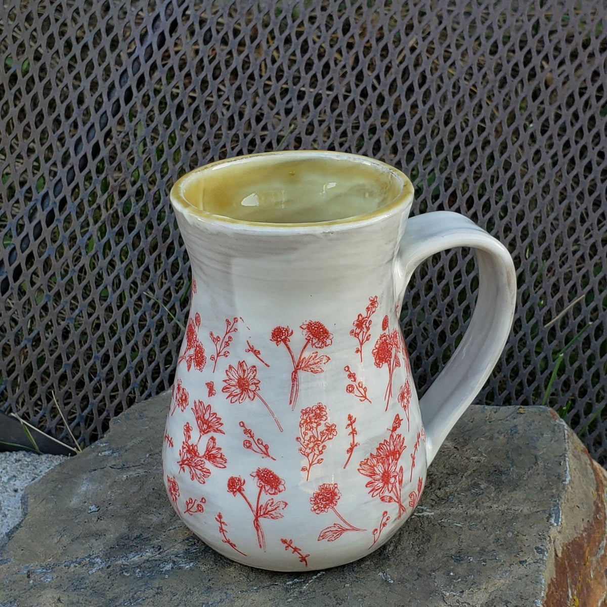Image of Modern Minimal French Country Farmhouse Mug: Red with Homemade Caramel Sauce