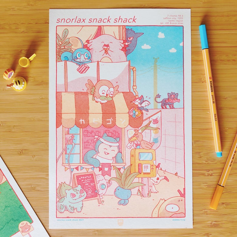 Image of SNORLAX SNACK SHACK RISO PRINT