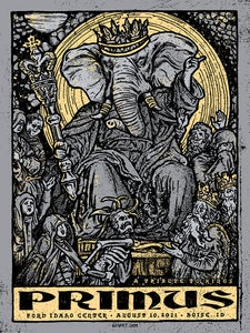 Image of Primus 2021 Boise, ID - Main Grey Show Print