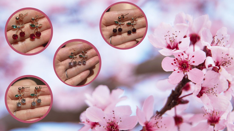 Image of cherry picking earrings