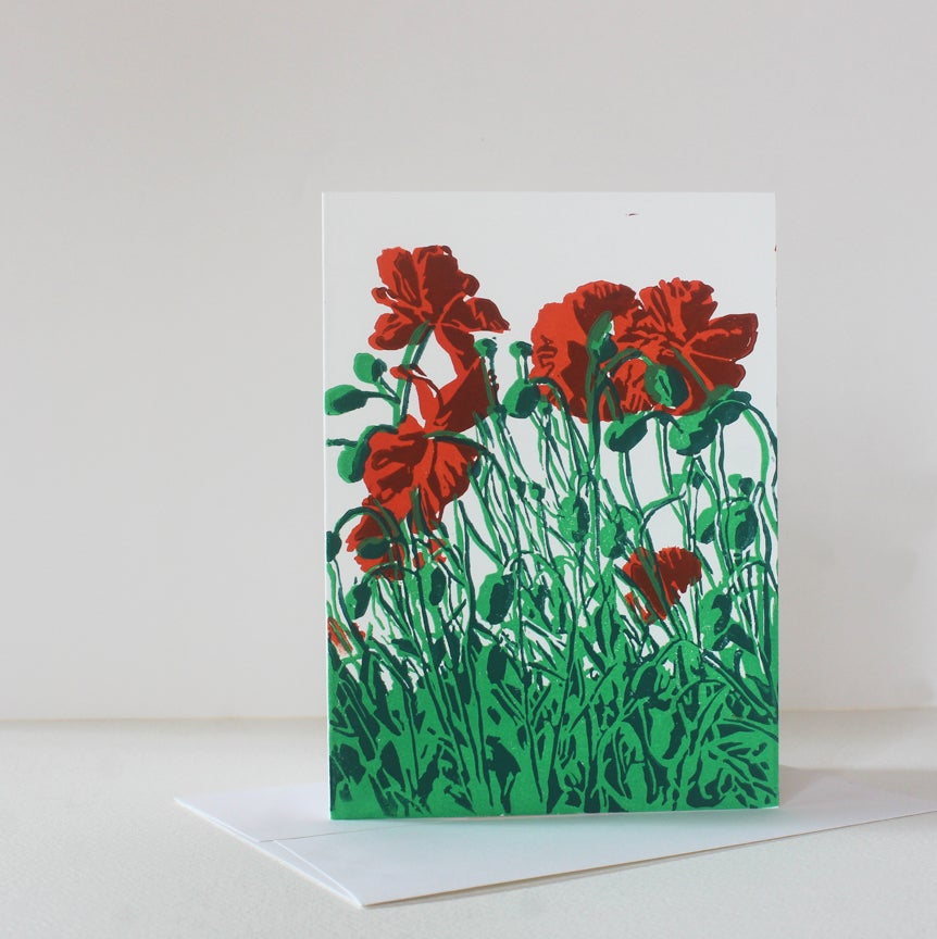 Image of Poppy Block Print cards and journals