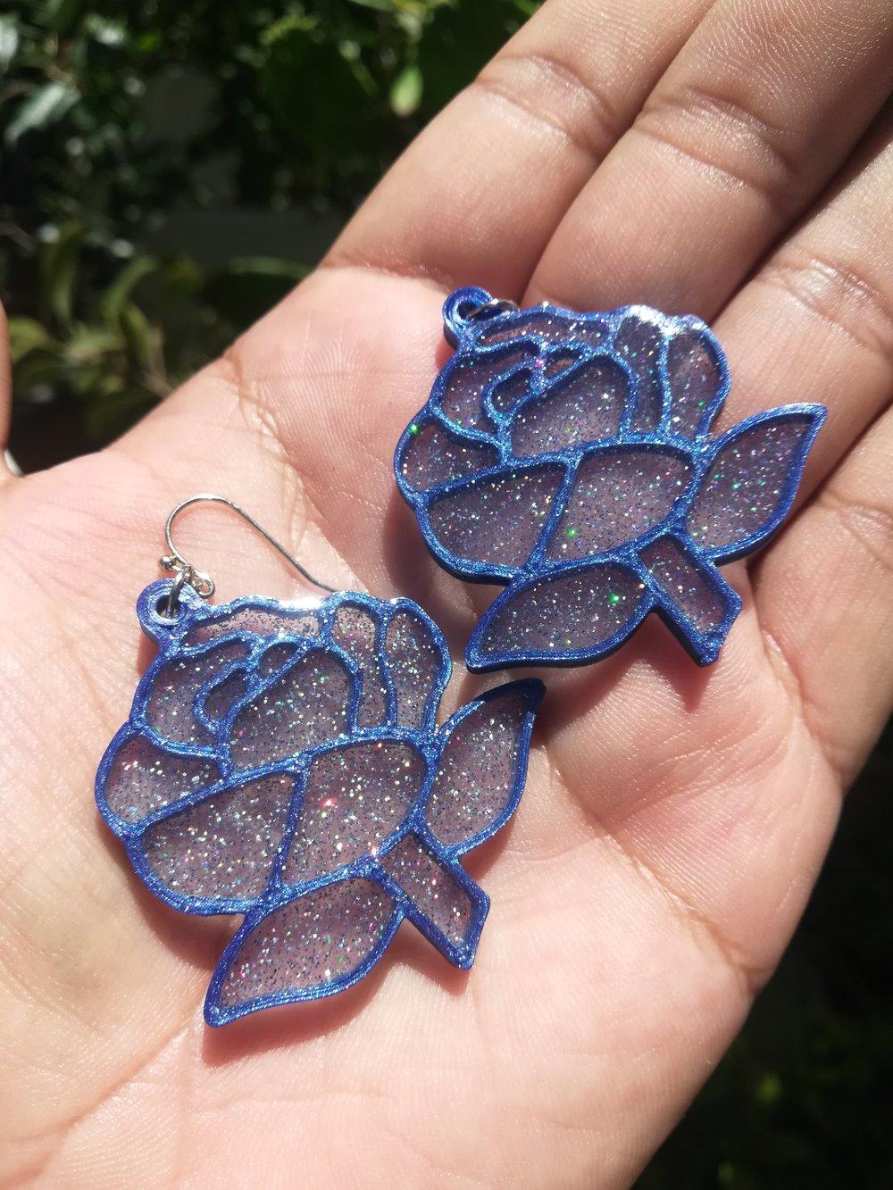 Lapis Lazuli Rose Earrings