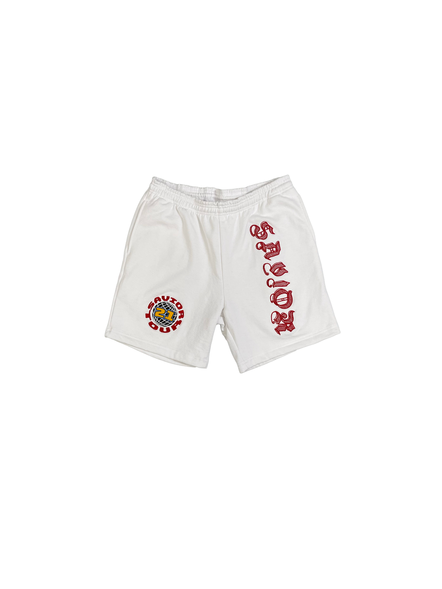 Image of Savior Sweat Shorts- White