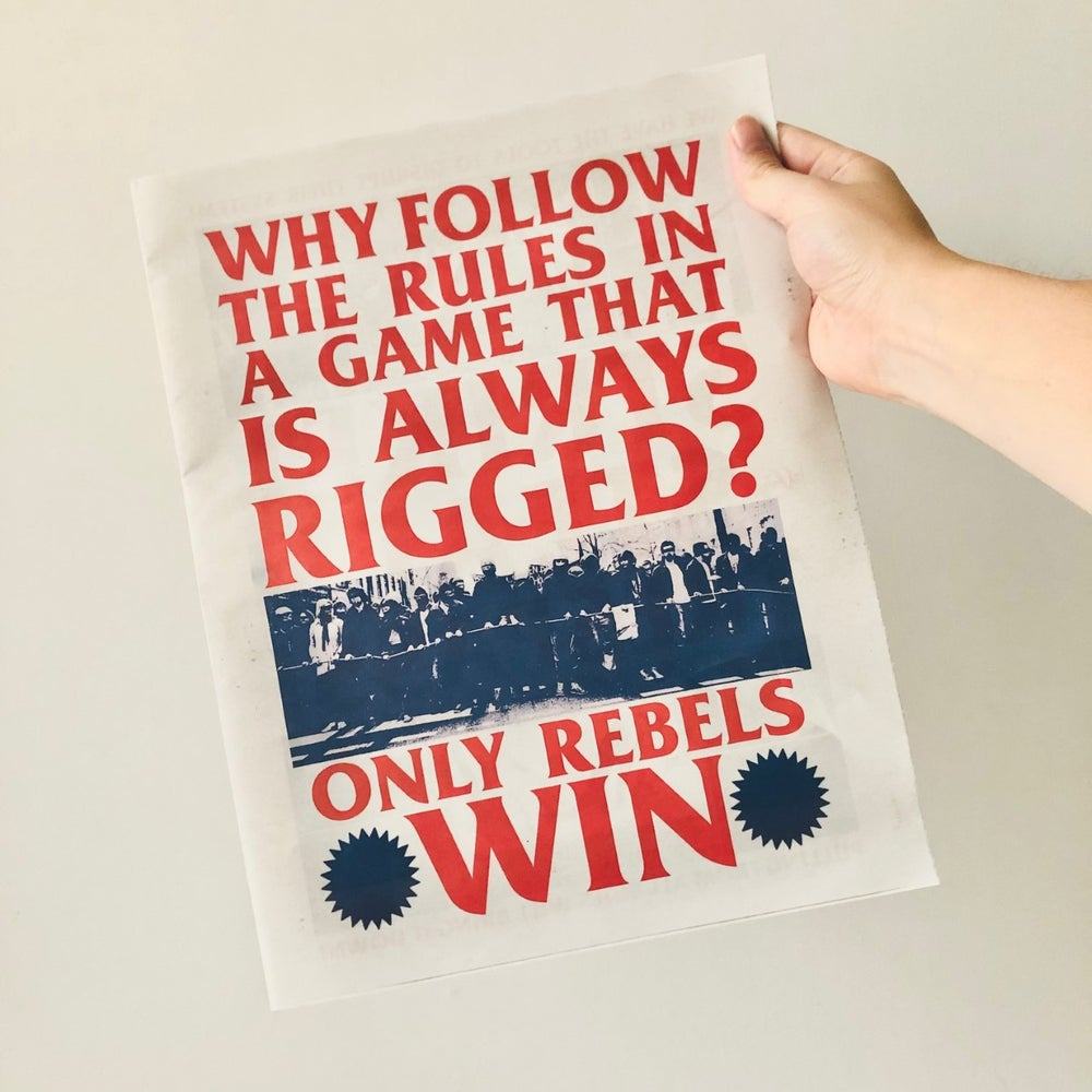 Image of Only Rebels Win 12 page tabloid newspaper