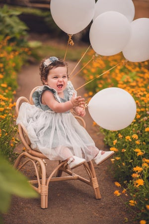 Image of Special occasion dress in dusty blue