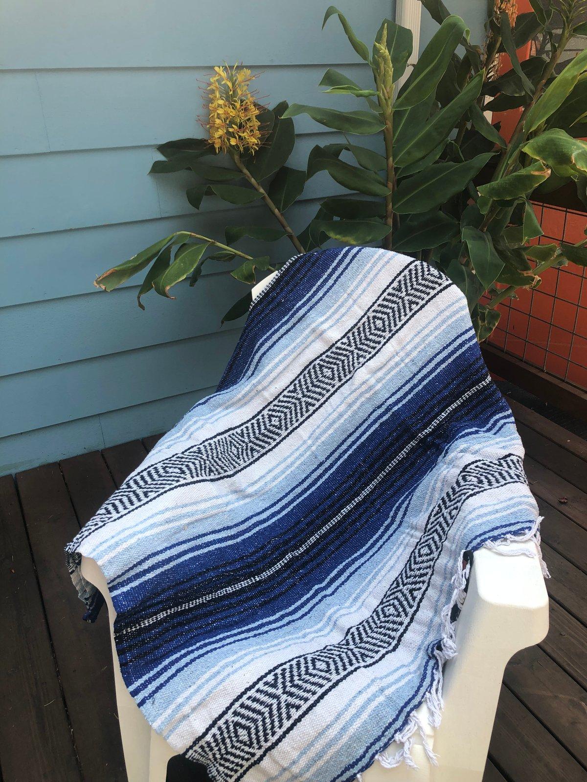 Image of White / Cobalt Blue / Light Blue Baja Blanket