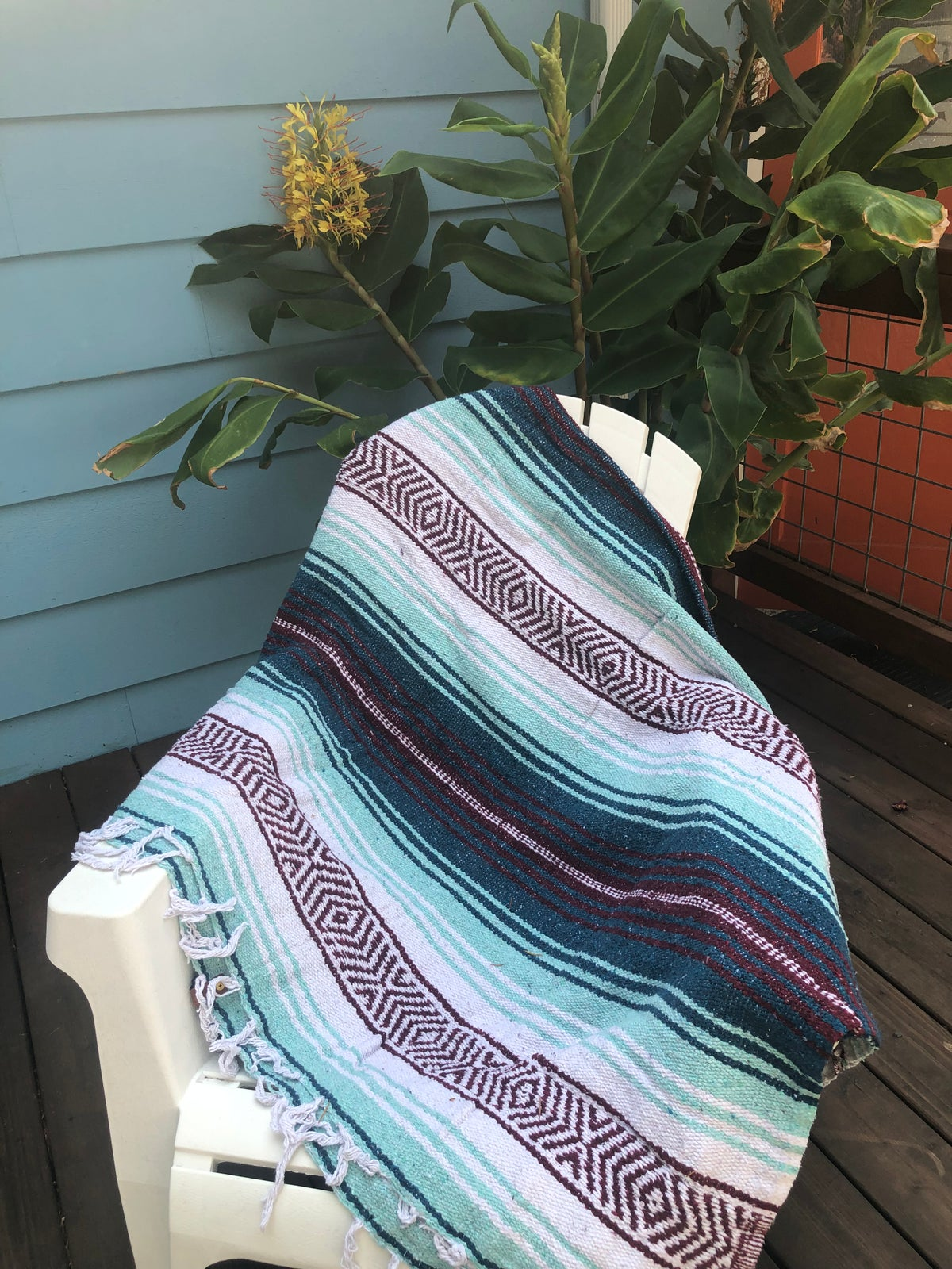 Image of Burgundy / Dark Turquoise / Mint Baja Blanket
