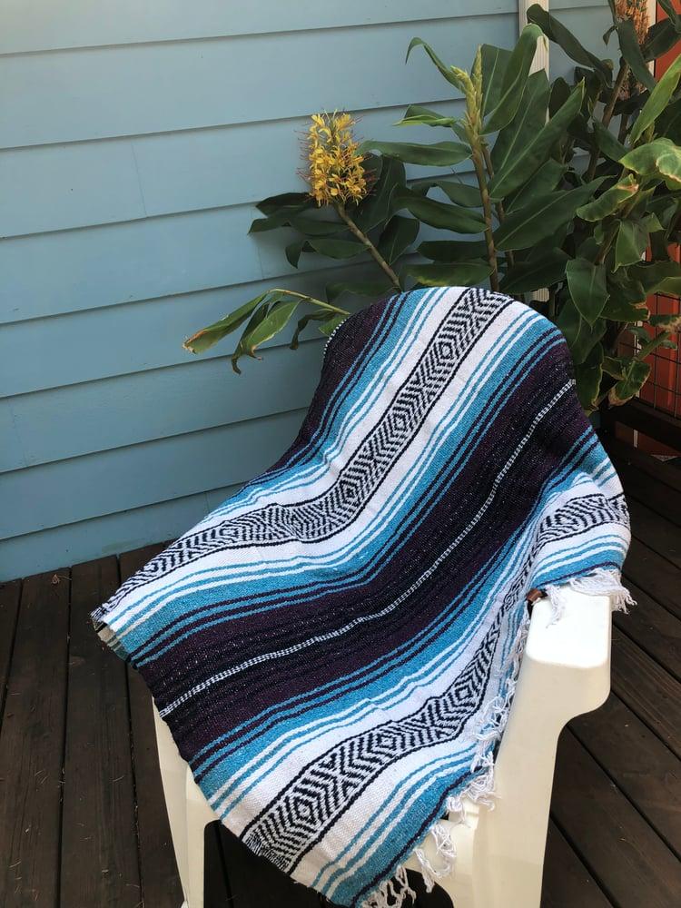 Image of  Dark Purple / Teal / White Baja Blanket
