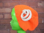 Image of Knitted Construction Orange Hat with Flora