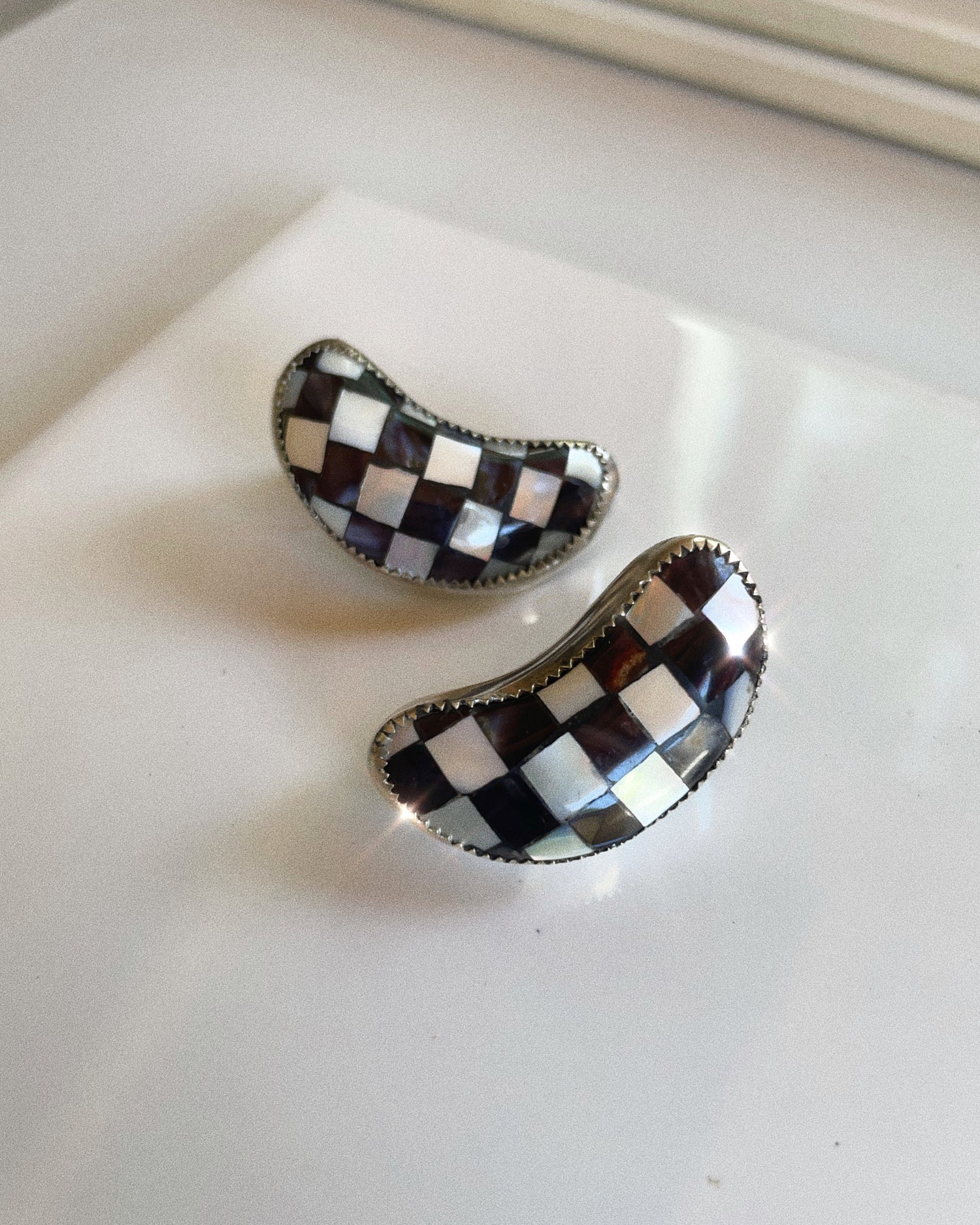 Image of Checkered Moon Studs (PRE-ORDER)