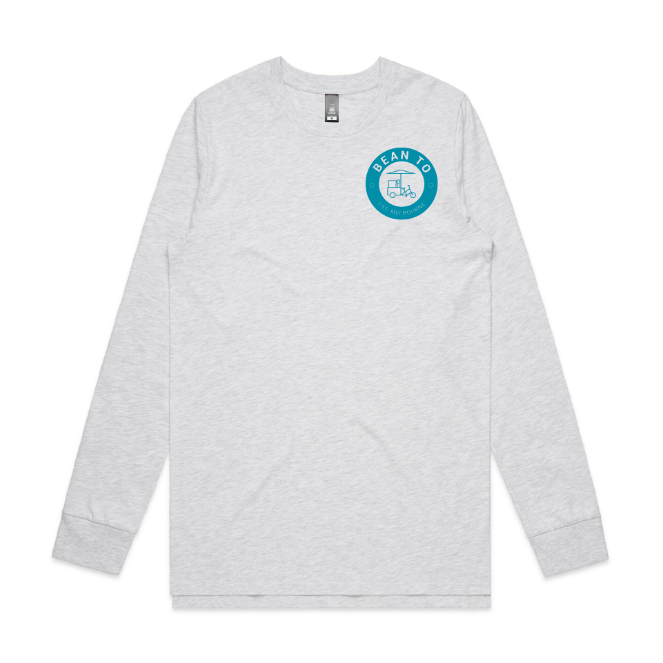 Long Sleeved Tee - Blue on White Marle