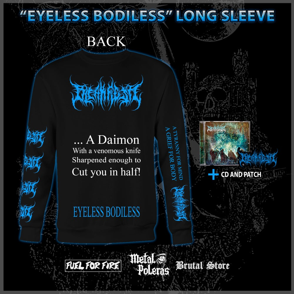 Image of *PRE ORDER* EYELESS BODILESS LONG SLEEVE + CD, EMBROIDERED PATCH BUNDLE