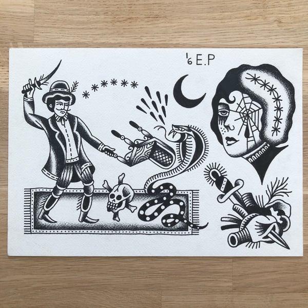 Image of The snake tamer - Original drawing
