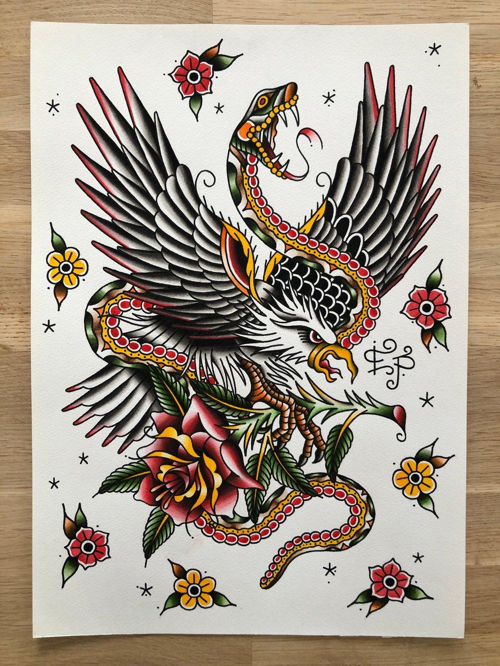 Image of Eagle vs Snake - Original painting