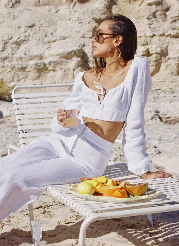 Image of The Lost Tribe White Isla Linen top.