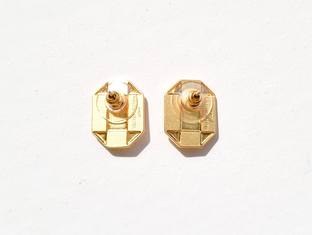 Octagon Studs • Gold / Pearl